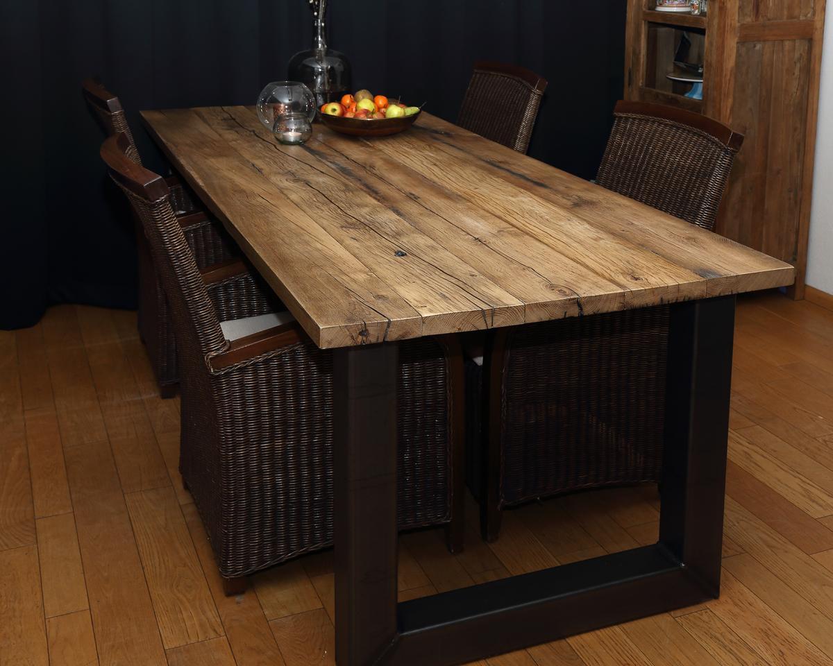 Oud eiken eettafel hout design
